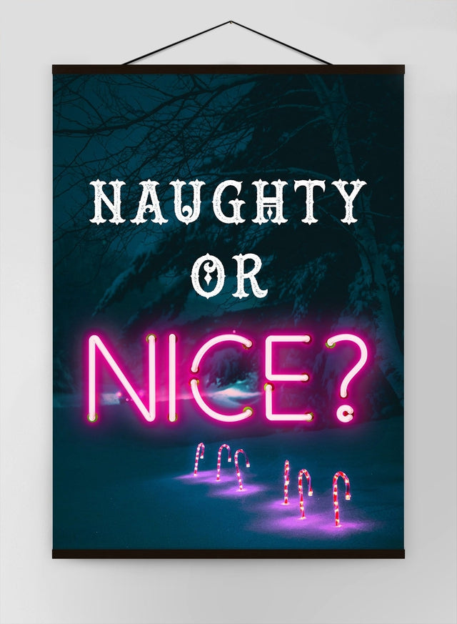 Naughty Or Nice Neon Canvas