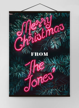 Custom Christmas Pink Neon Canvas