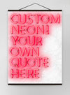 Custom Quote Straight Neon Sign White Marble Canvas