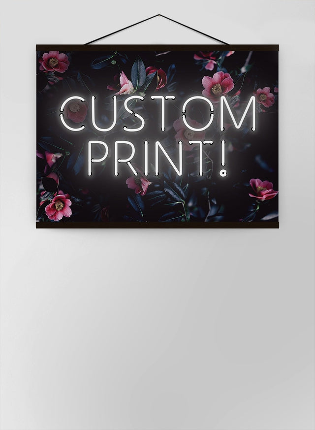 Custom White Neon Sign Floral Background Canvas