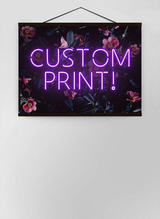 Custom Purple Neon Sign Floral Background Canvas