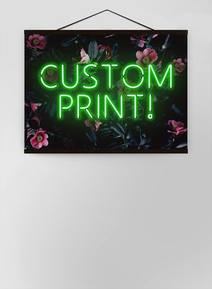 Custom Green Neon Sign Floral Background Canvas