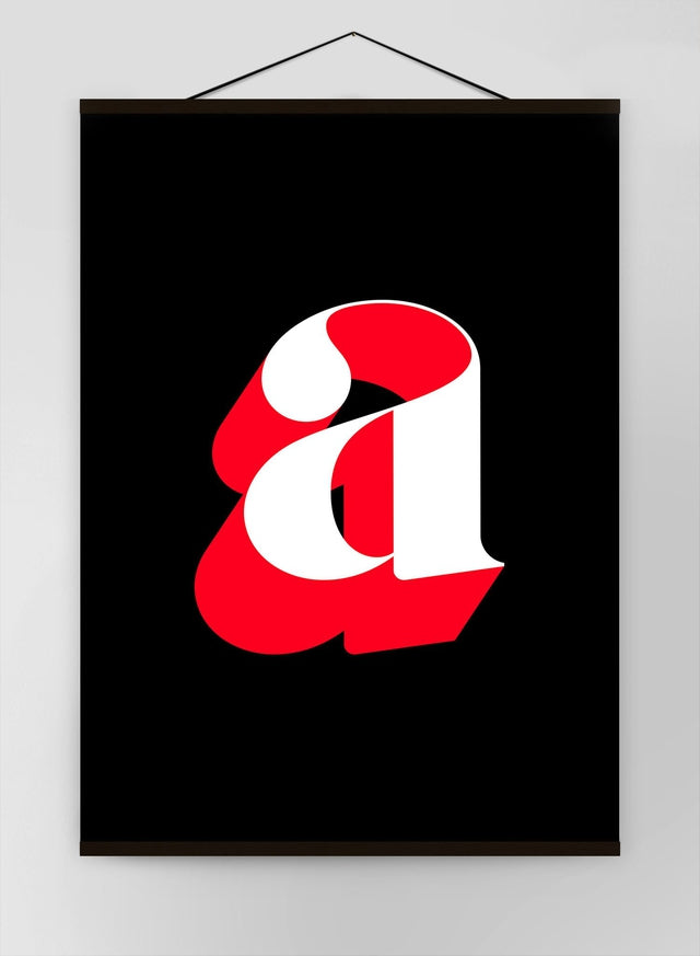 Single Serif Letter Black Red Canvas