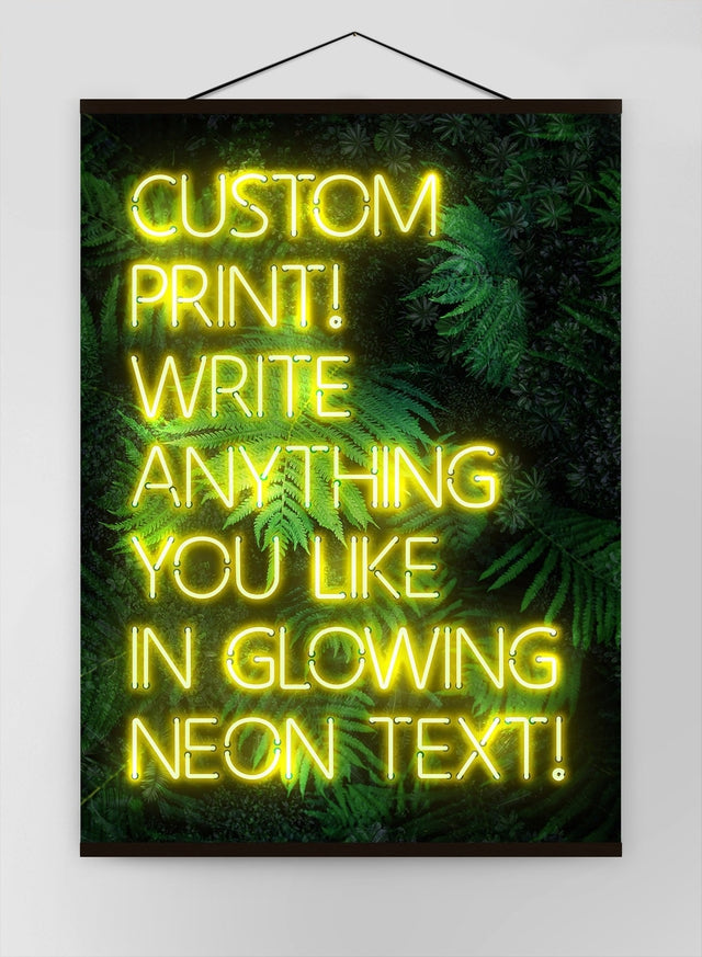 Custom Yellow Neon Sign Leaves Background Canvas