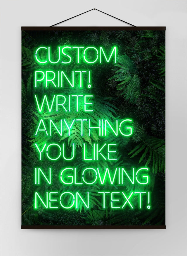 Custom Green Neon Sign Leaves Background Canvas