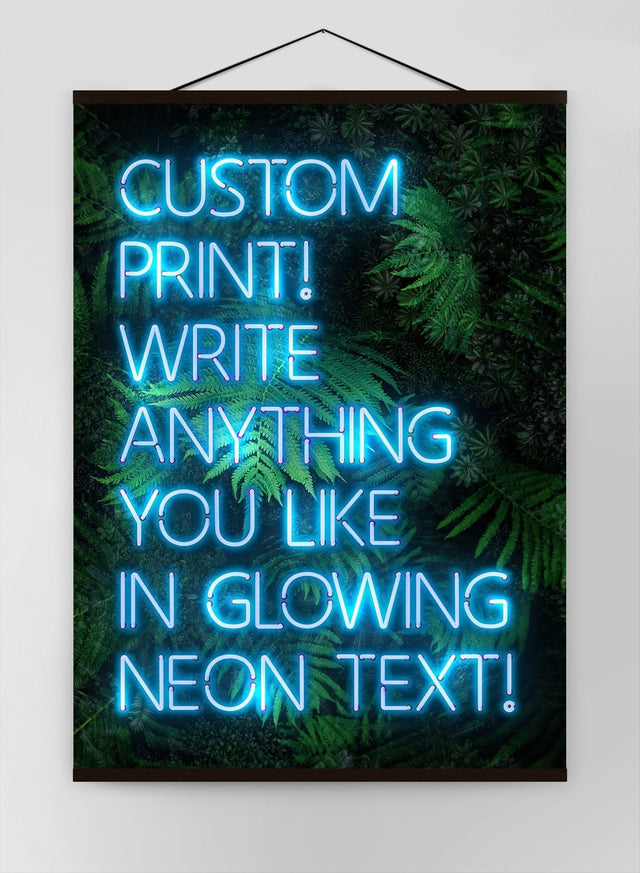 Custom Blue Neon Sign Leaves Background Canvas