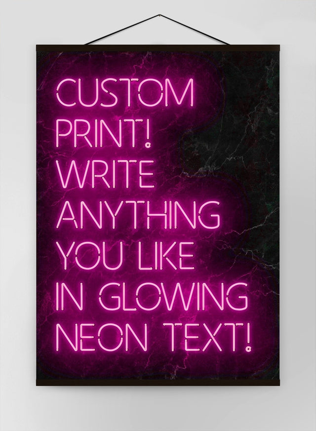 Custom Quote Neon Sign Pink Canvas