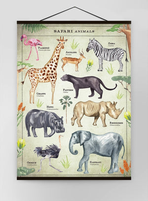 Vintage Style Safari Animals Chart Educational Canvas