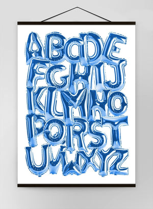 Foil Balloons Alphabet Educational Blue Canvas