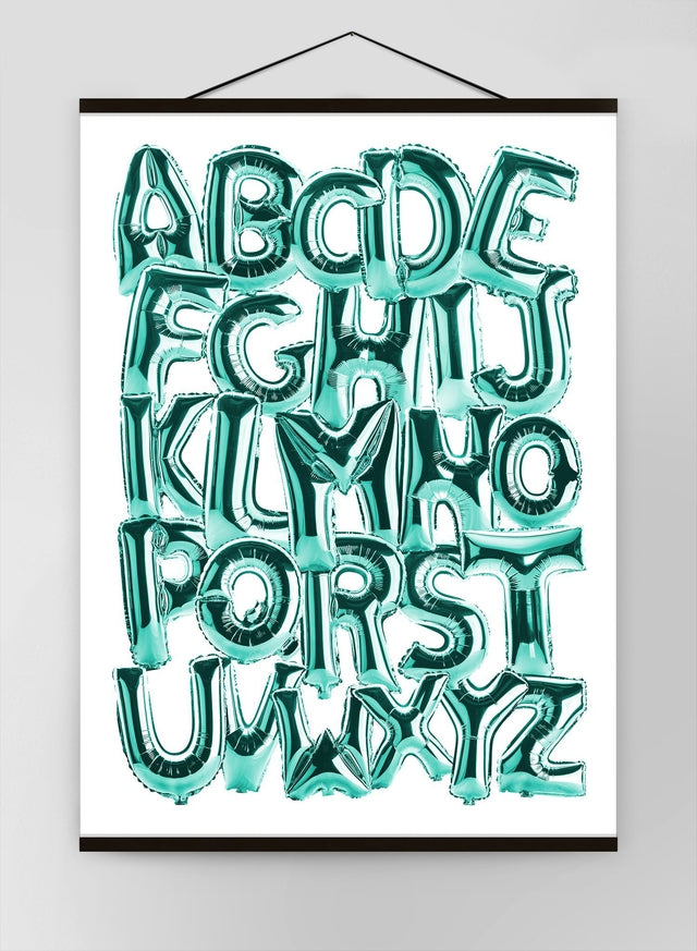Foil Balloons Alphabet Educational Teal Canvas