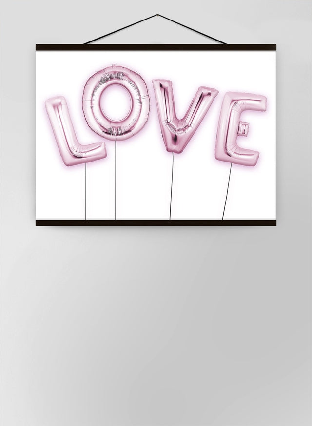 Love Pink Foil Party Balloons Canvas