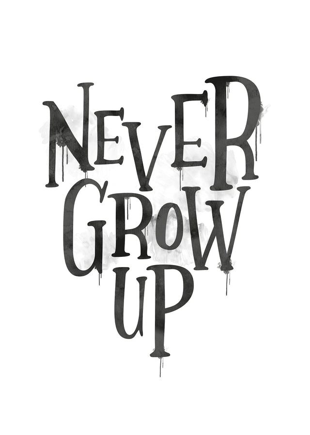 Never Grow Up Heart Type Canvas