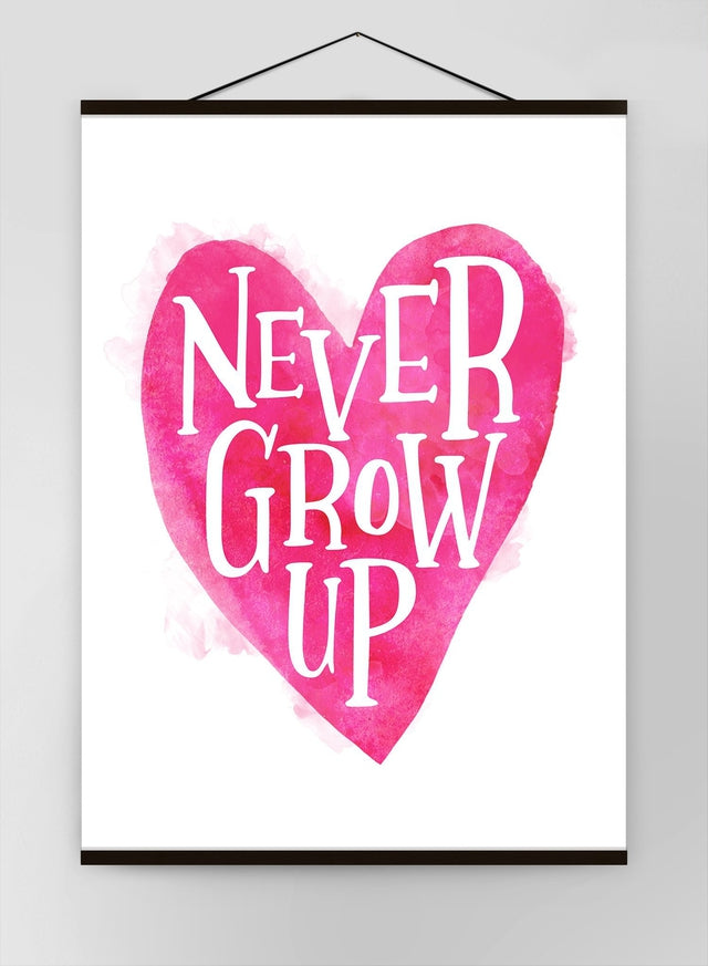 Never Grow Up Heart Type Pink Canvas
