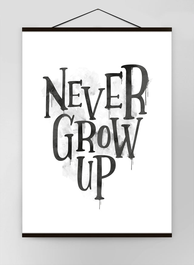 Never Grow Up Heart Type White Canvas