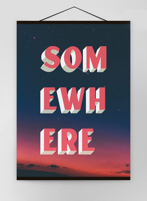 Somewhere Typography Sunset Canvas