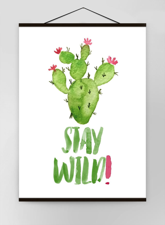 Stay Wild Cactus Watercolour Quote Canvas