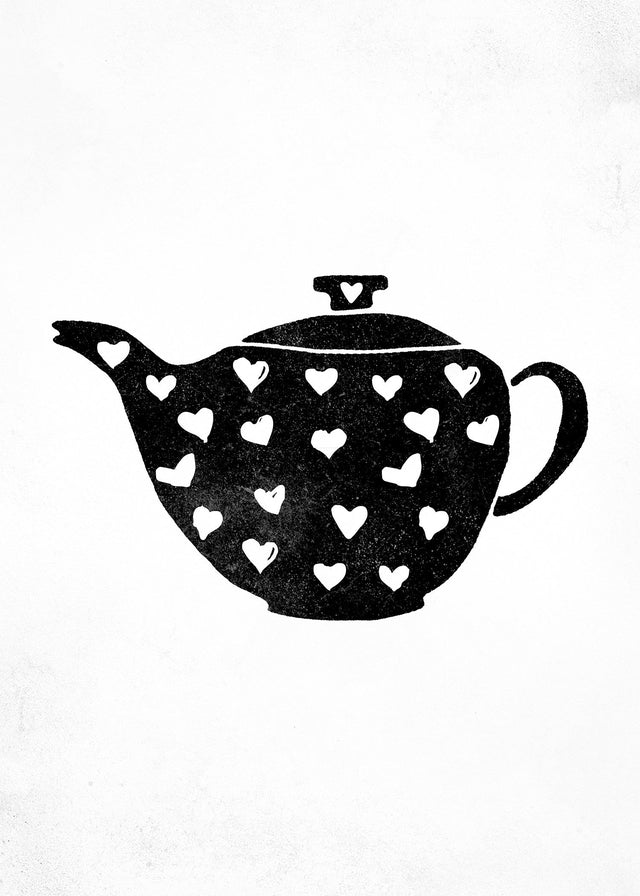 Teapot Silhouette Hearts Canvas