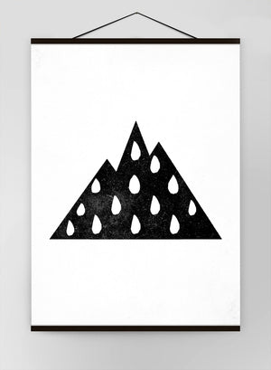 Mountain Silhouette Raindrops Canvas