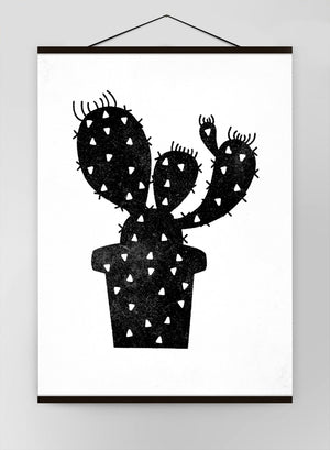 Cactus Silhouette Triangle Canvas