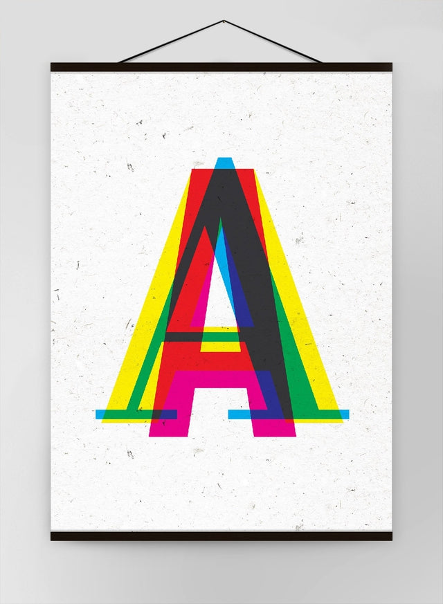 Single Cmyk Letter Personalised Initial Canvas