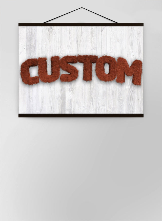 Brown Fur Style Wood Personalised Name Canvas