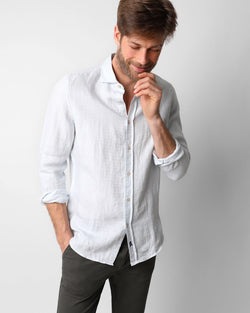 FANCY LINEN SHIRT SKYBLUE