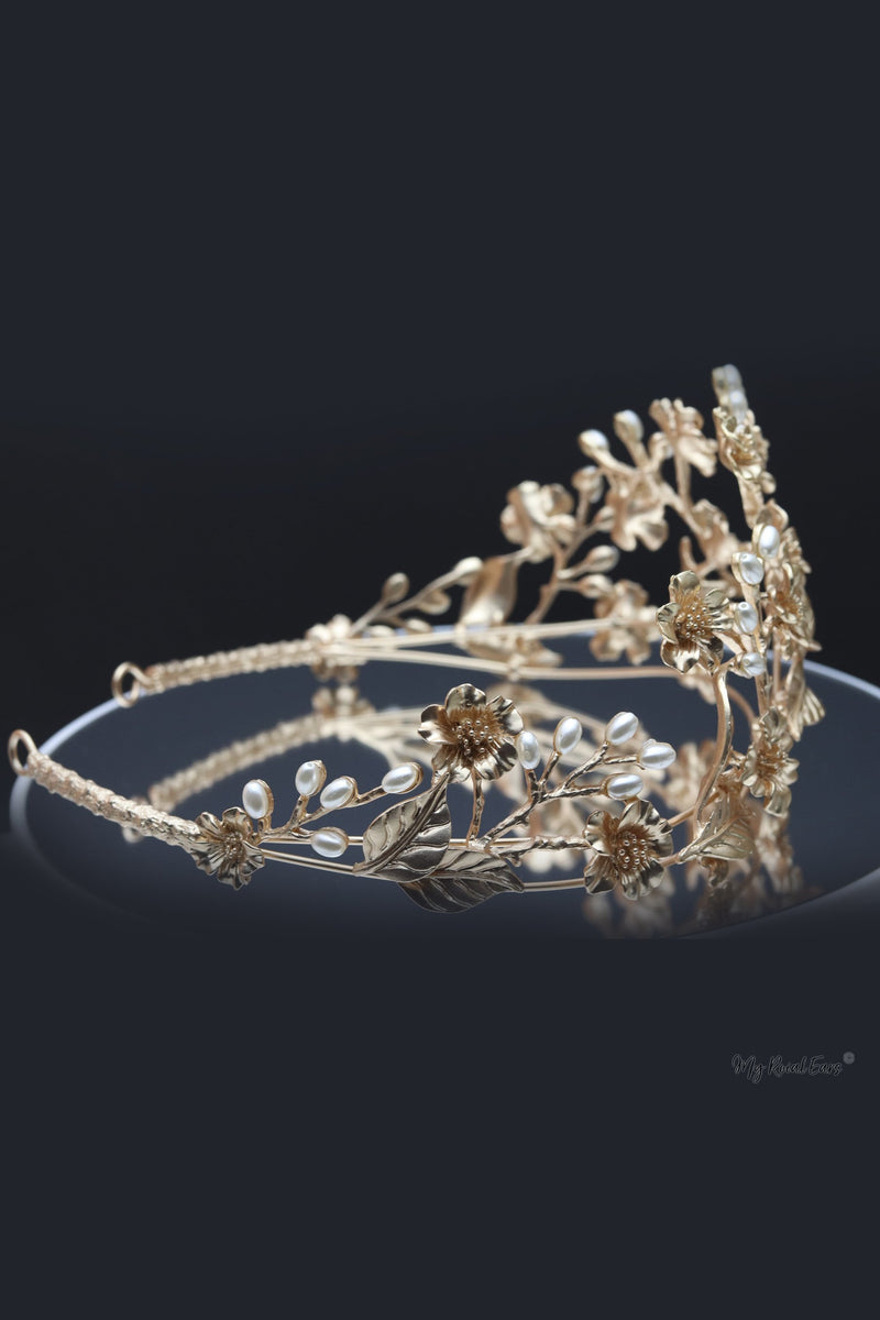 Queen Marie- stunning golden vintage pearls tiara - My Roial Ears LTD