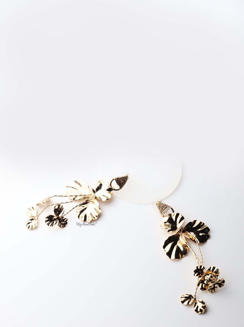 Hecate- gold plated stunning metal floral drop earrings - My Roial Ears LTD