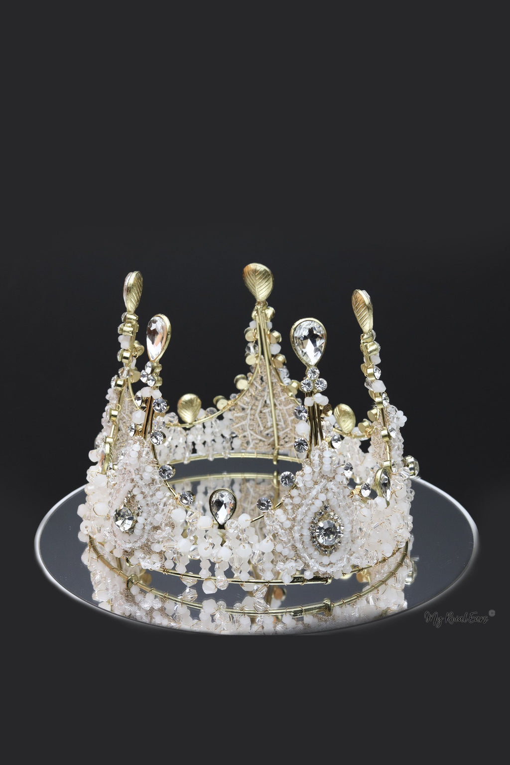 Queen Mary- beaded and crystal baroque crown - My Roial Ears LTD