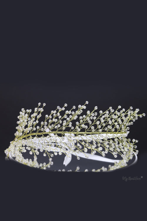 Queen Betty-clear beaded leaf headband - My Roial Ears LTD