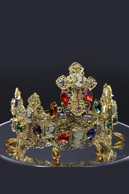 Queen Mirabai- gold baroque tiara and earring set. - My Roial Ears LTD