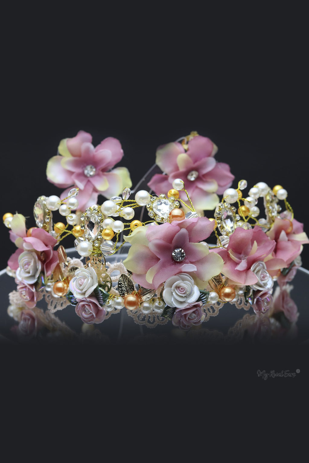 Queen Teresa- handmade, floral tiara and earring set. - My Roial Ears LTD