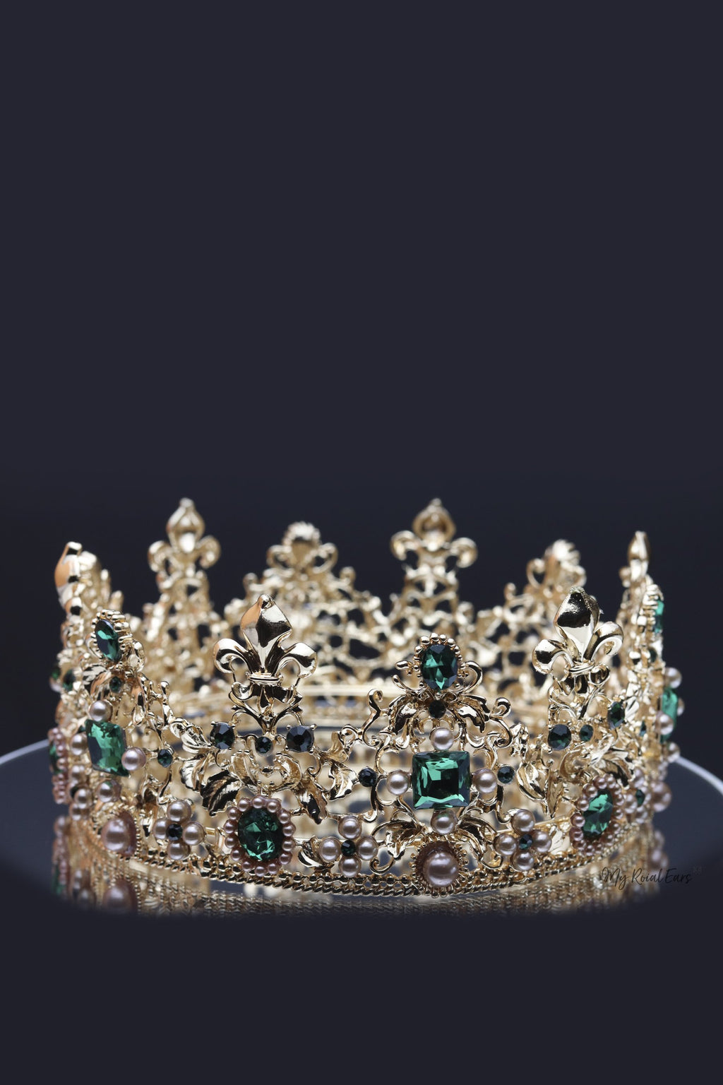 Queen Catherine- gold and green baroque crown and earring set. - My Roial Ears LTD