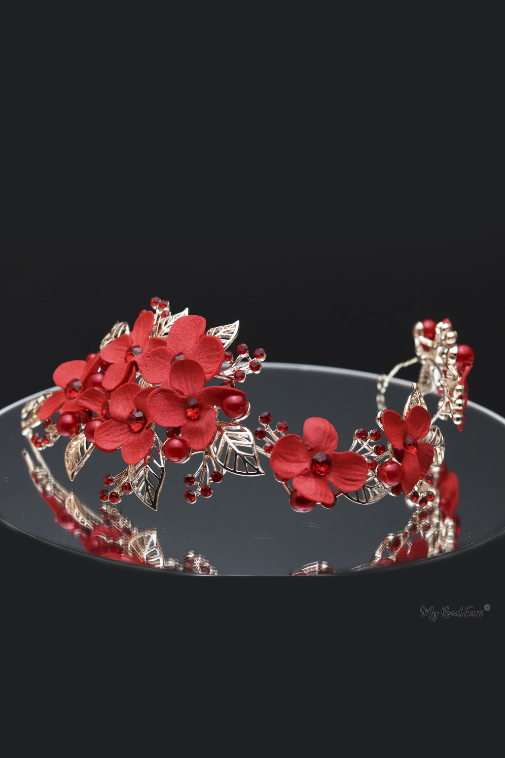 Queen Jane- a red floral handmade headpiece - My Roial Ears LTD