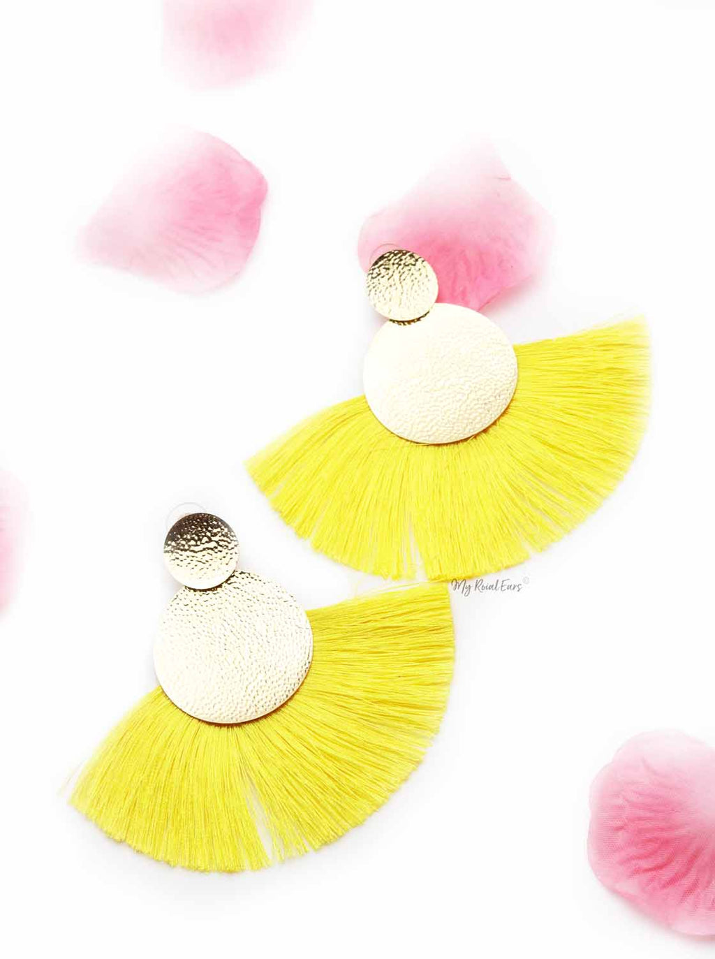 Annual Delphinium- gold and yellow tassel earrings - My Roial Ears LTD