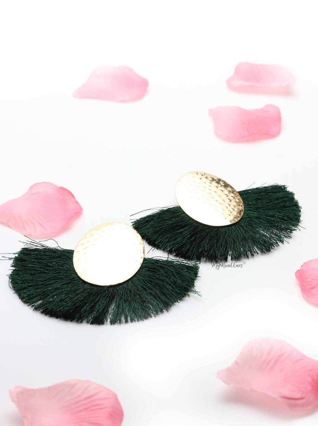 Blue Passion Green- golden egg shaped tassel earrings - My Roial Ears LTD