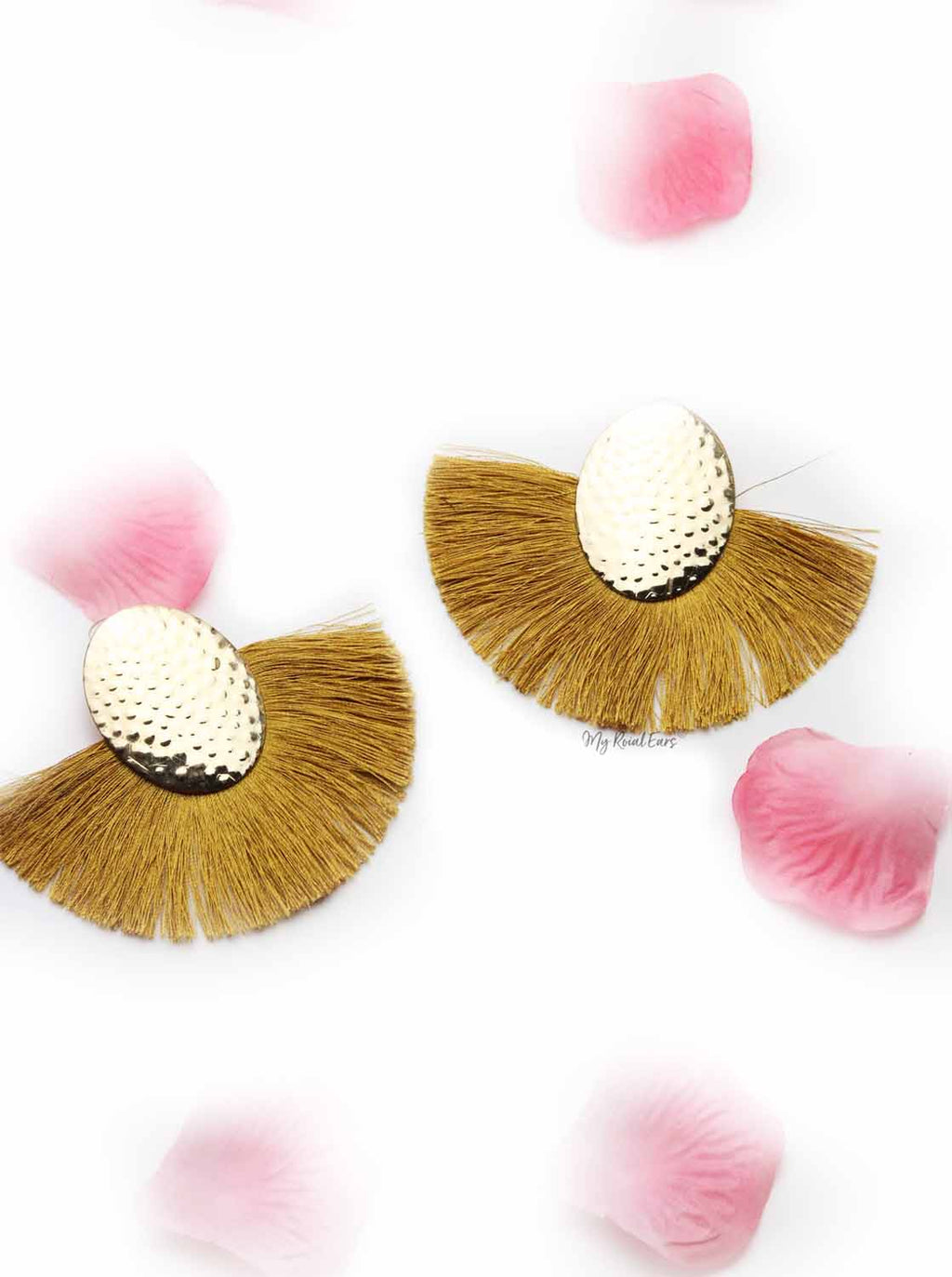 Blue Passion- golden egg shaped tassel earrings - My Roial Ears LTD