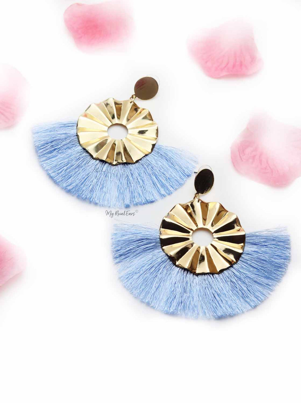 Begonia Fairlady- golden tassel statement earrings
