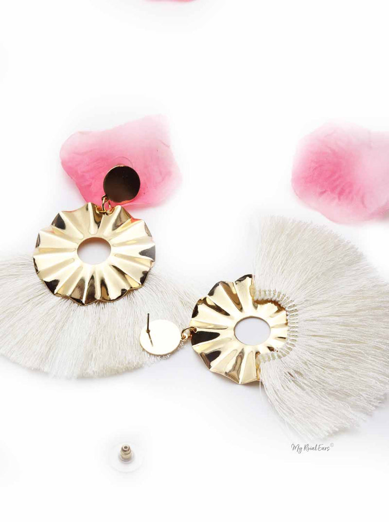 Begonia Fairlady White- golden tassel statement earrings