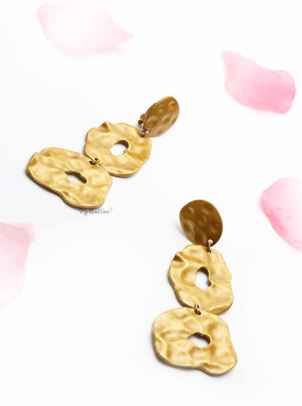 Ipomoea Indica- clipon gold statement drop earrings - My Roial Ears LTD