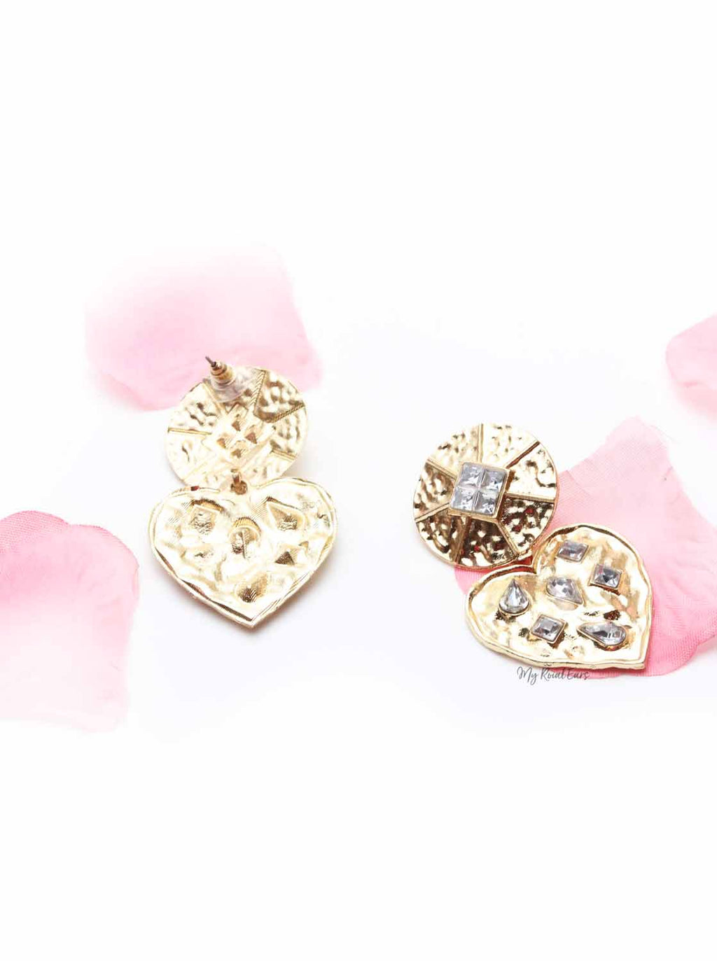 Cattleya- diamond embellished heart earrings - My Roial Ears LTD