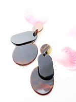 Etlingera-brown acrylic drop statement earrings - My Roial Ears LTD
