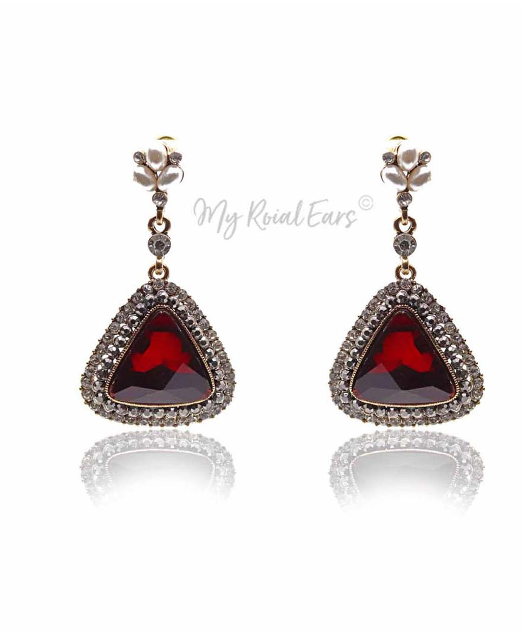 Q.LOUISE-sophisticated triangular dangle drop bridal earrings - My Roial Ears LTD