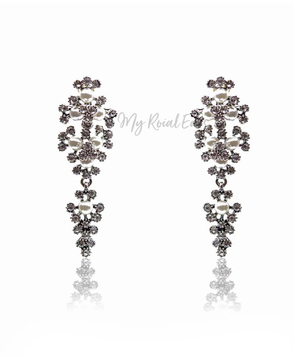Q.MARY-delicate gold pearls inspired bridal earrings - My Roial Ears LTD