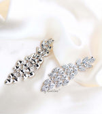 Q.PHILIPPA-peacock feather crystal bridal drop earrings - My Roial Ears LTD