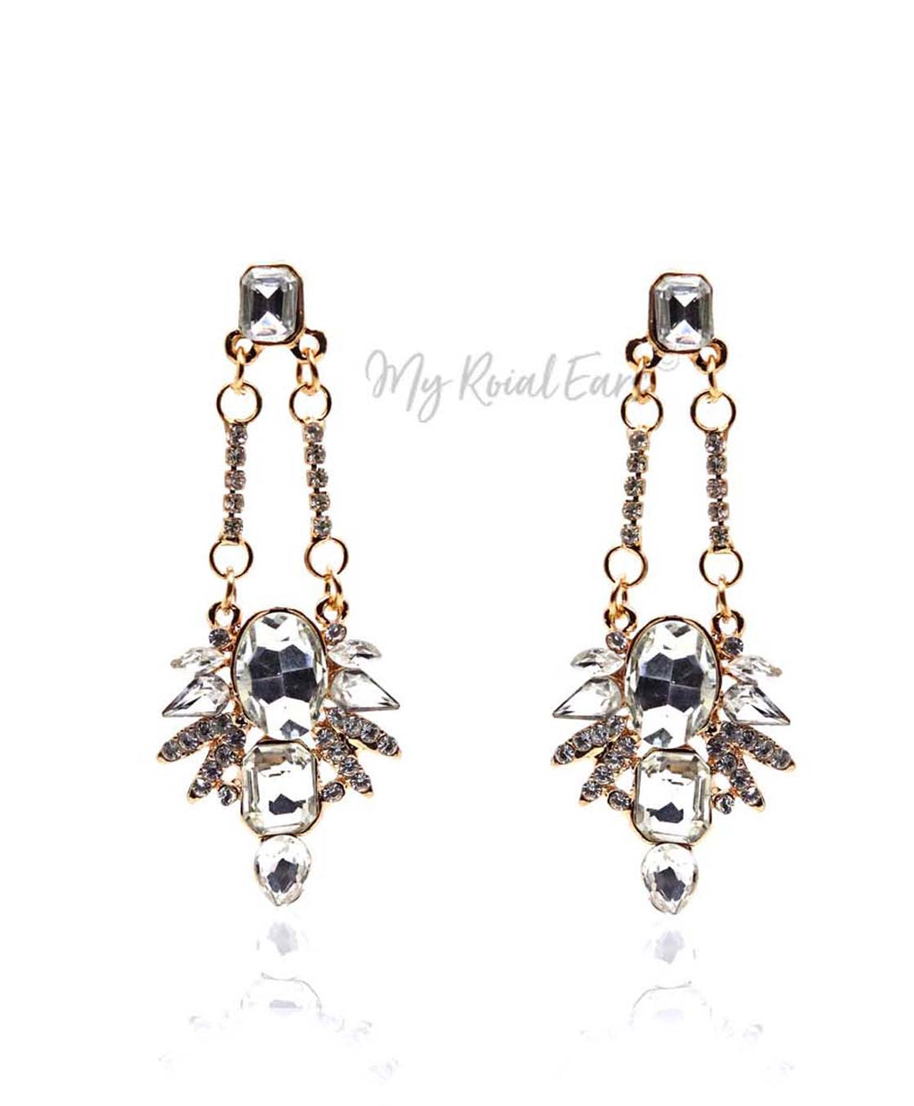 Q ALICE-handmade crystal glass dangle earrings - My Roial Ears LTD