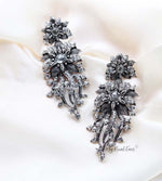 Q XENIA Silver-vintage baroque flower statement drop bridal earrings - My Roial Ears LTD