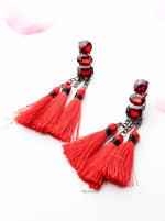Dahlia- fashion chain drop tassel earrings