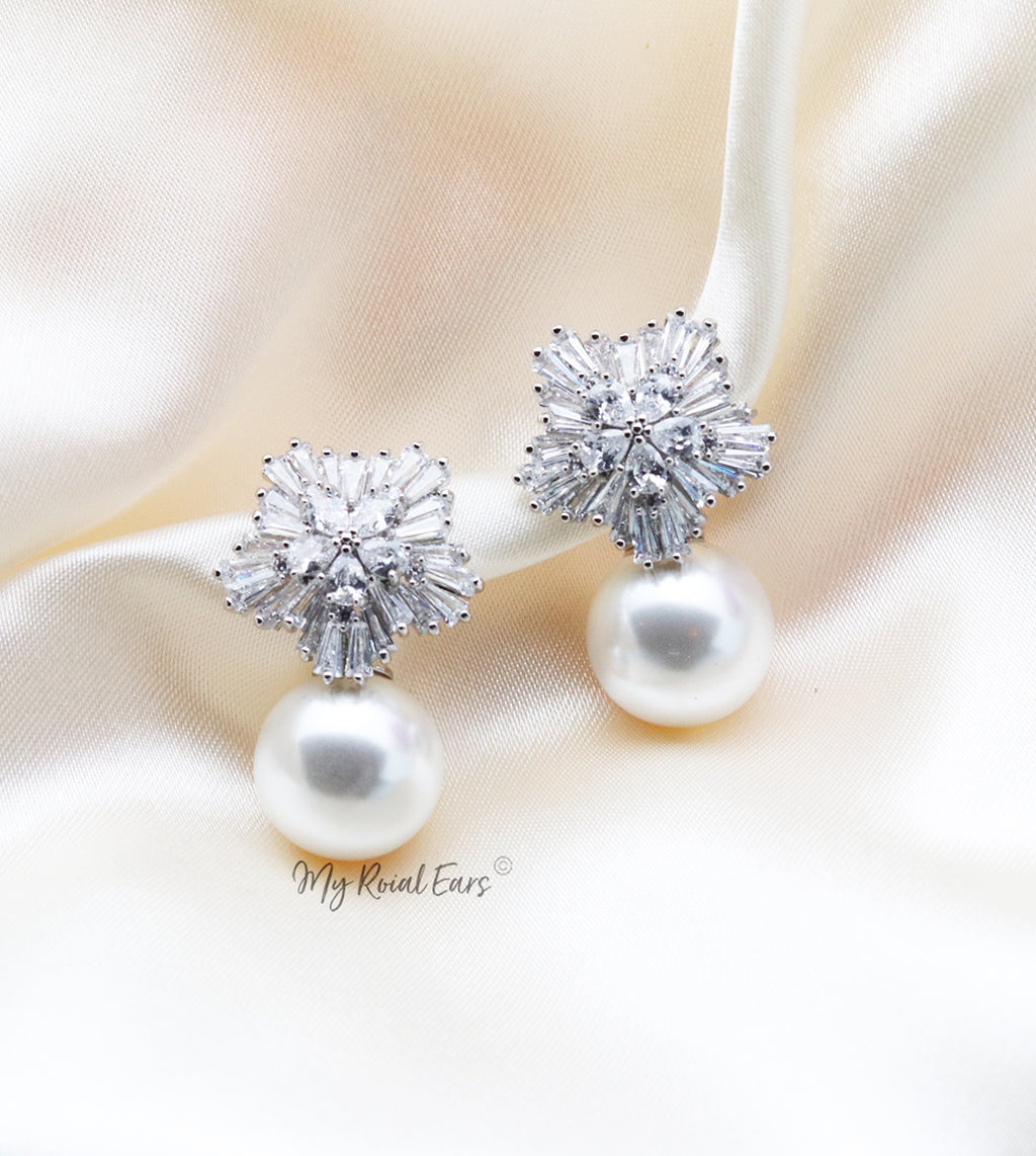 Q.Louise-bridal diamond cut floral pearl stud earrings - My Roial Ears LTD