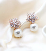 Q Louise Rose Gold-bridal diamond cut floral pearl stud earrings - My Roial Ears LTD